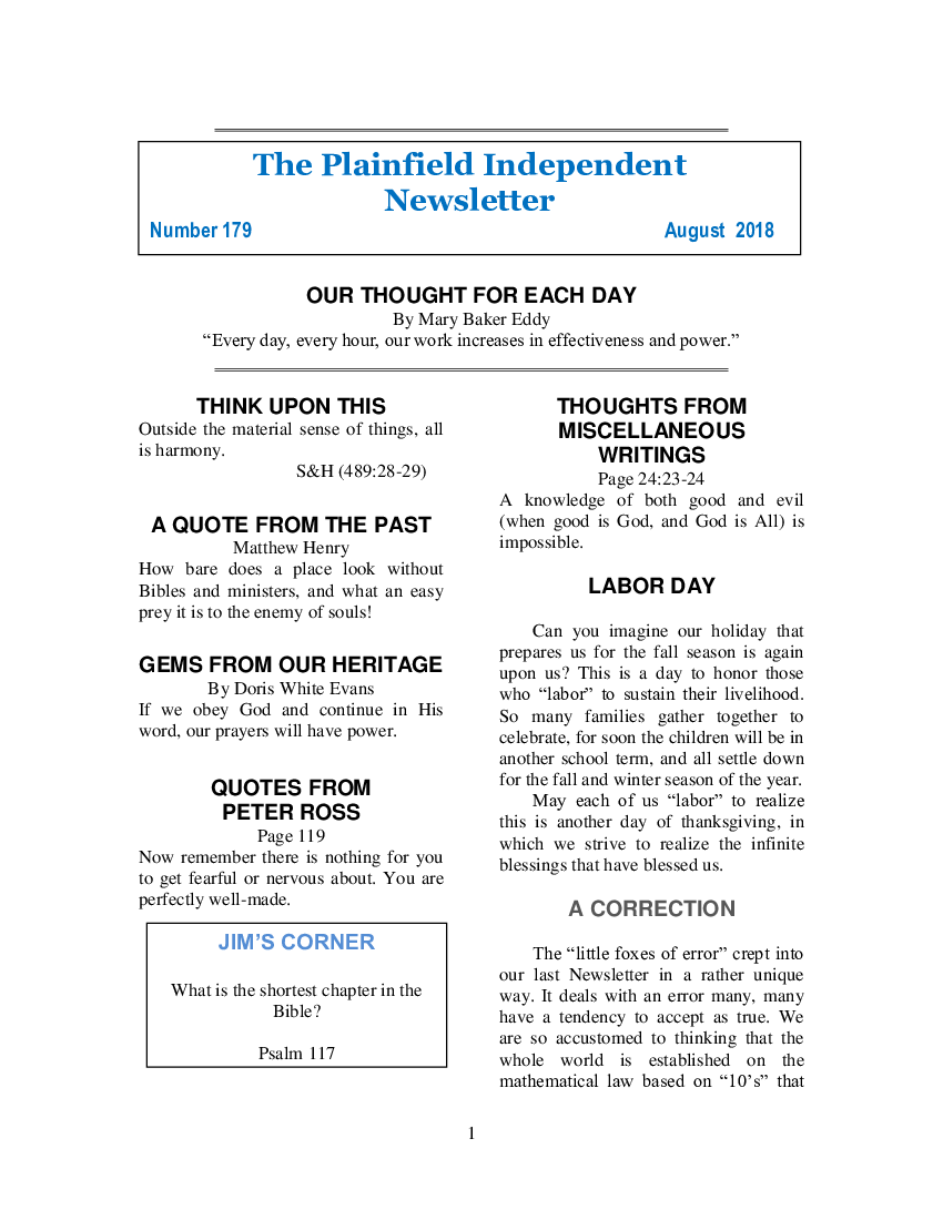 The Plainfield Independent Newsletter for August 2018